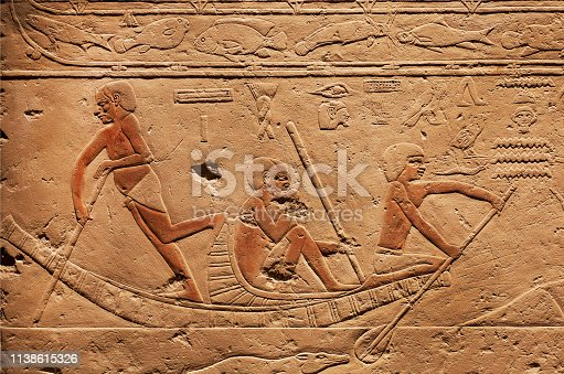 istock People on riverboat, relief on ancient Tomb of Sakkara, made at 2300 BC in Egypt 1138615326