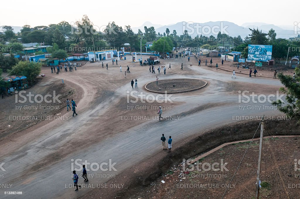 People on road in Konso, Ethiopia stock photo