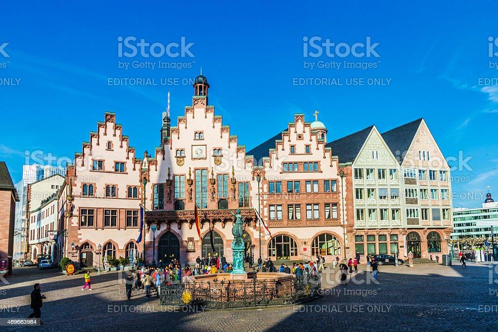 People on Roemerberg square in Frankfurt stock photo