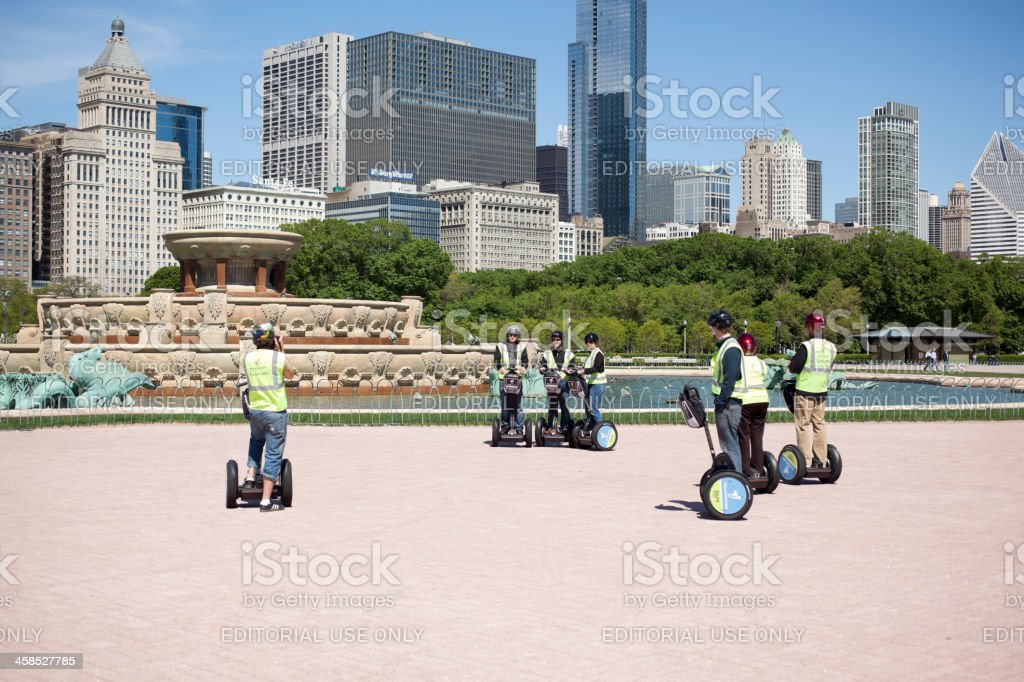 People on Segways by Buckingham Fountain in Grant Park Chicago royalty-free stock photo