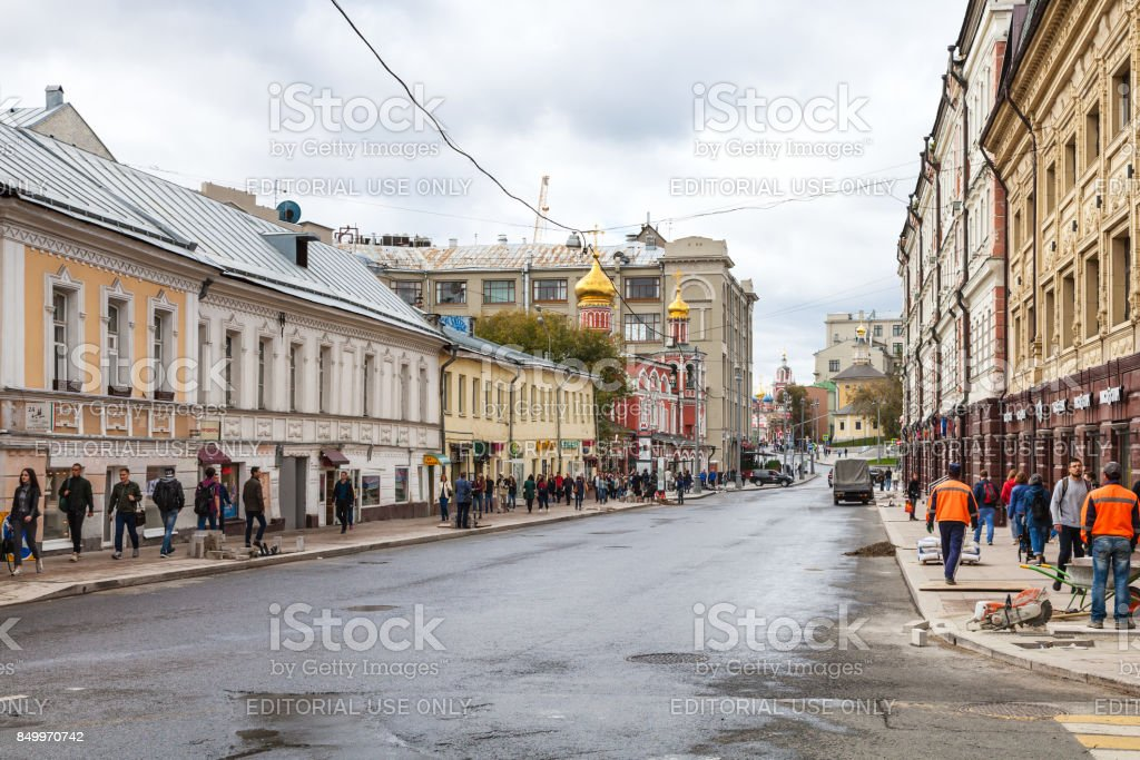 people on Solyanka Street in Moscow city stock photo
