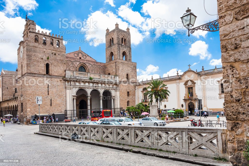 people on square near Duomo di Monreale in Sicily stock photo