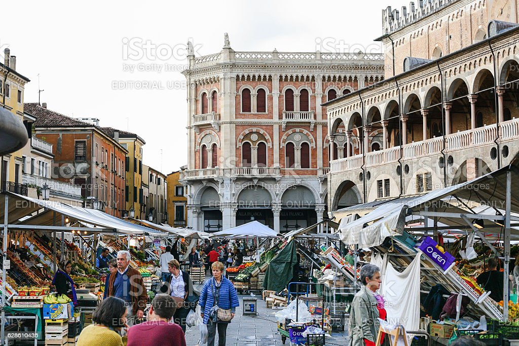 people on street market on square in Padua town stock photo