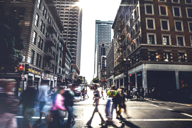People on street of downtown San Fransisco stock photo