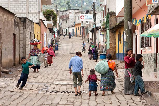 People on streets of Santa Maria de Jesus Guatemala stock photo