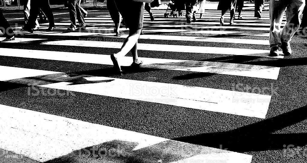 People on streets stock photo