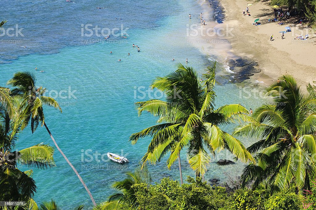 People at Ke`e Beach on Kauai stock photo