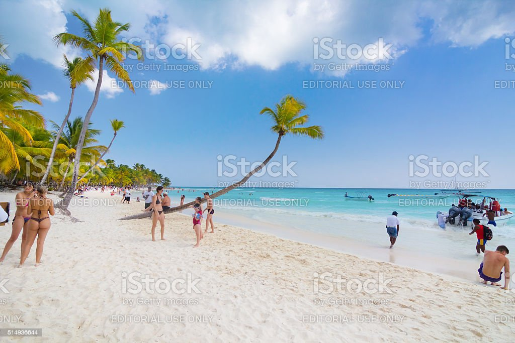 People On The Beach Of Dominican Republic Royalty Free Stock Photo