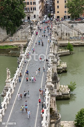 Rome, Italy - June 12, 2015: People on the bridge of Sant'Angelo in Rome, Italy