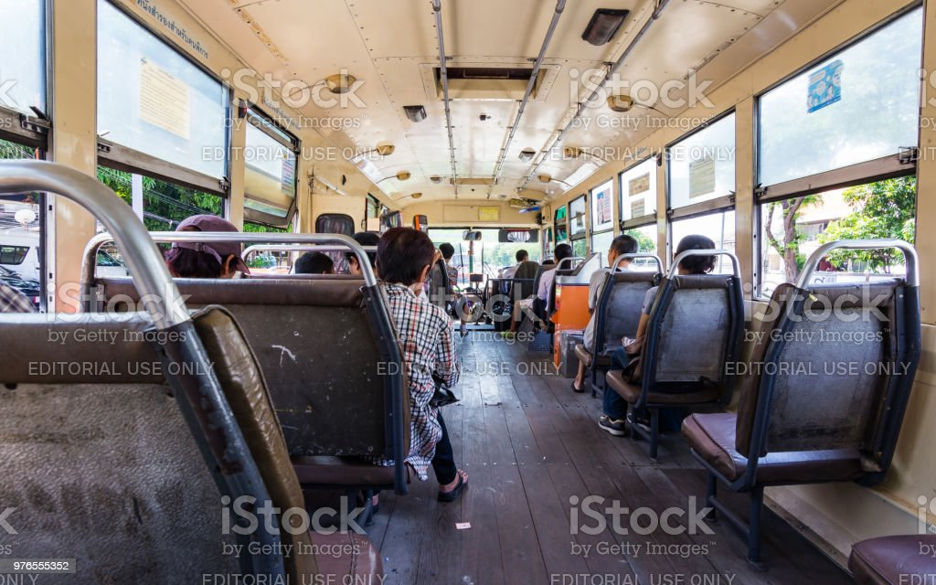 People on the bus in Bangkok, Thiland. stock photo