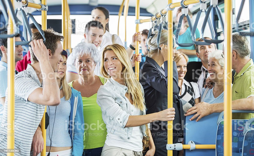 People on the bus. stock photo