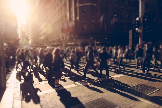 people on the crosswalk - crowded stock pictures, royalty-free photos & images
