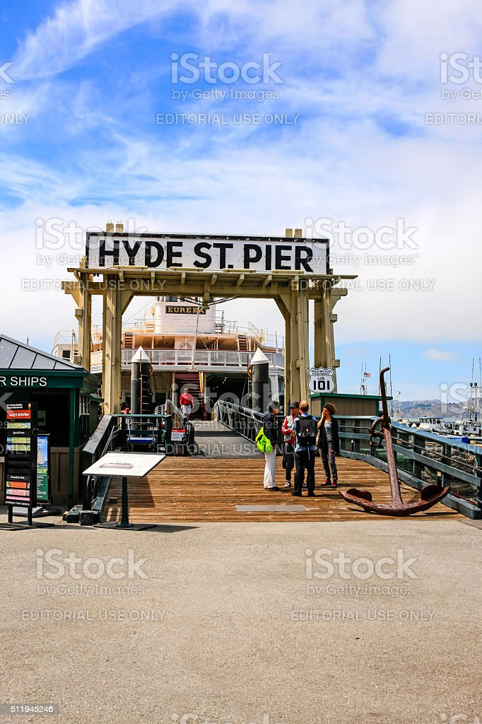 People on the Hyde Street Pier in San Francisco stock photo