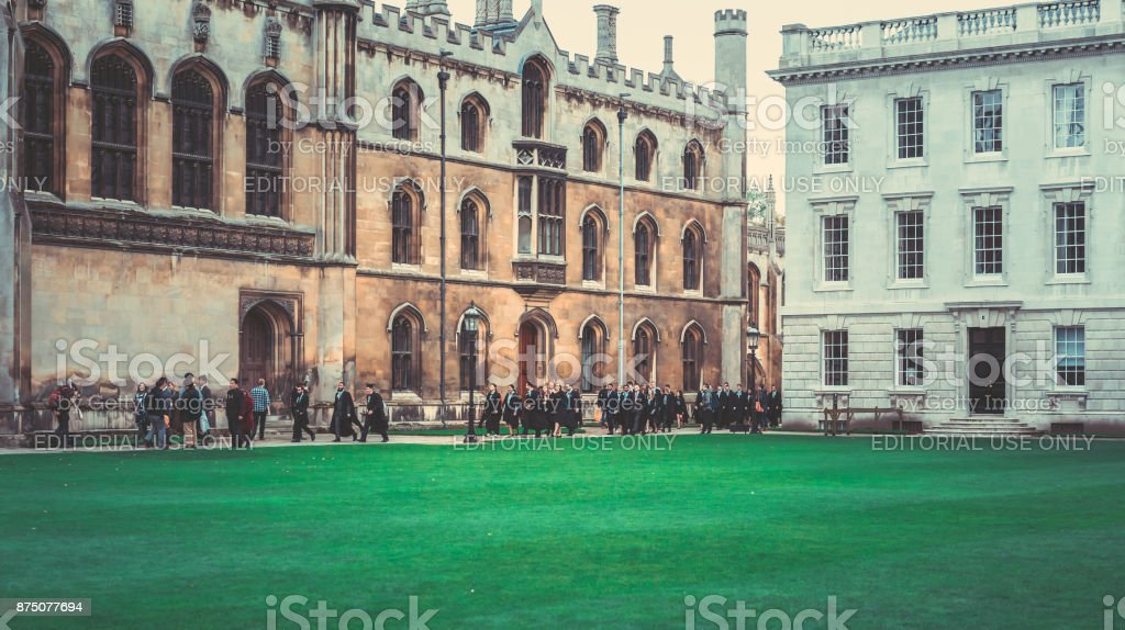 people on the King's college in Cambridge, England stock photo