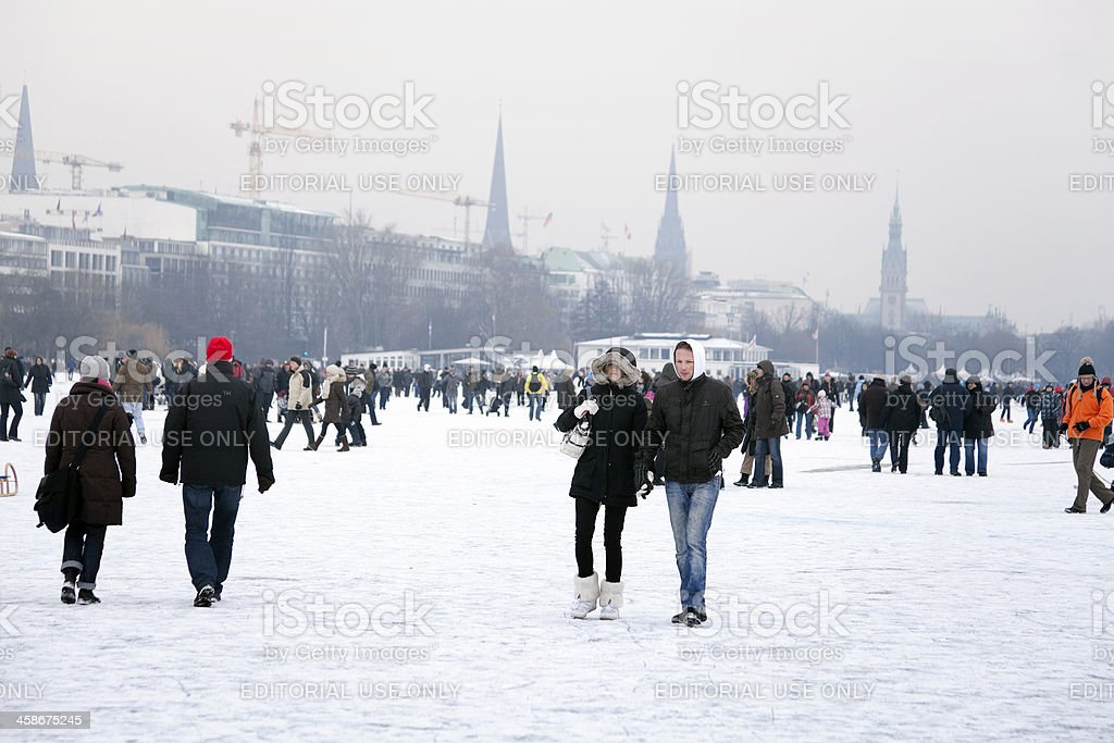 People on the lake Aussenalster stock photo