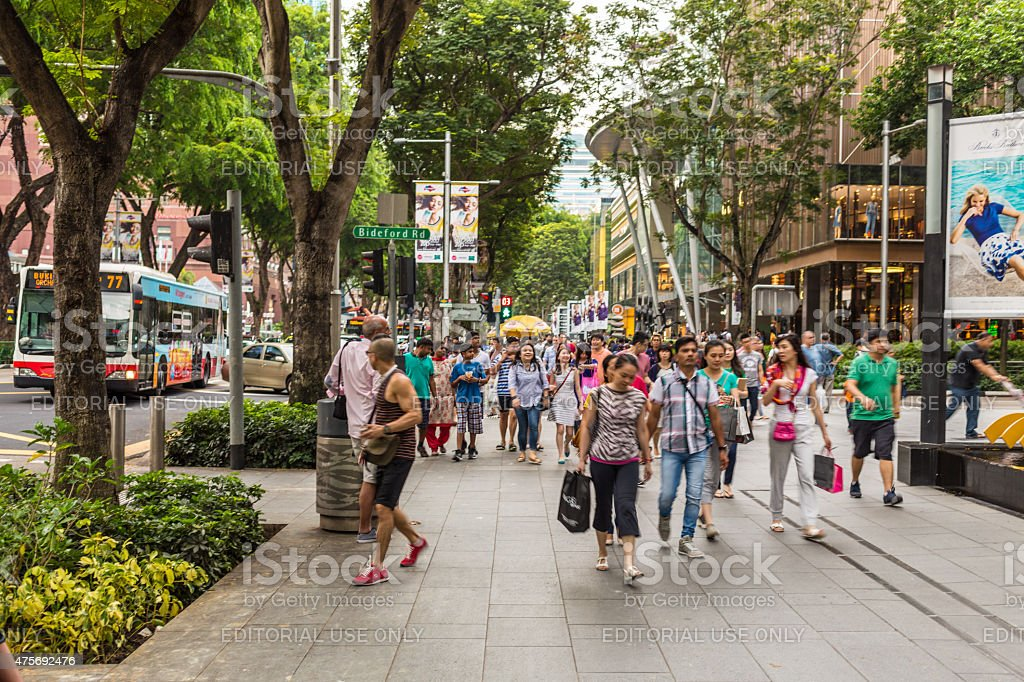 People on the Orchard Road Shopping Street in Singapore stock photo