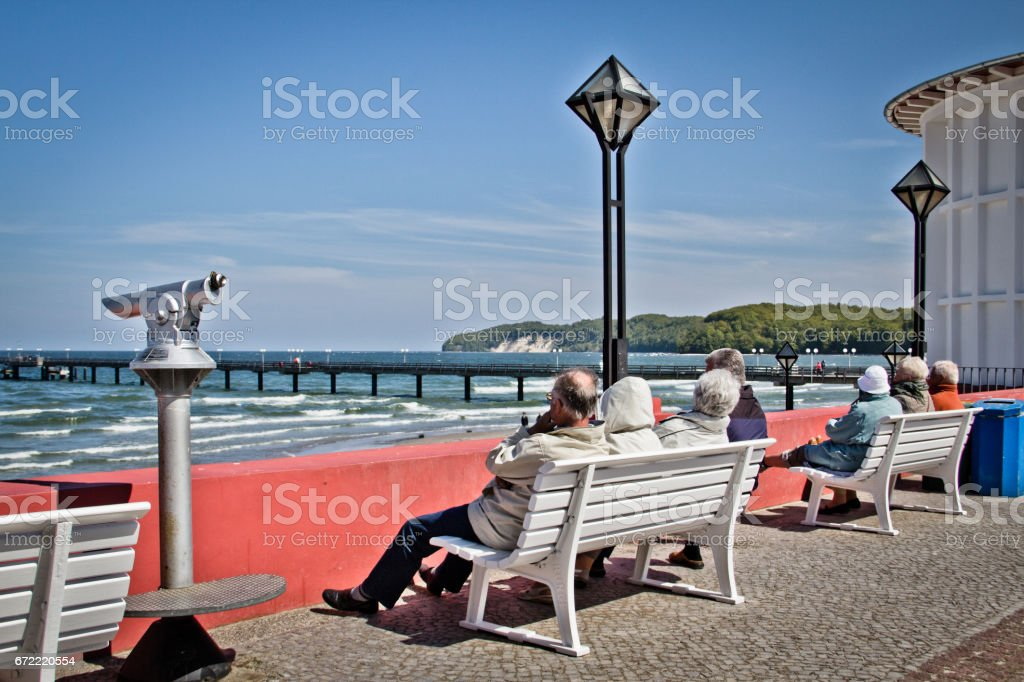 People on the pier. Great time on Rügen, Chalk Cliffs, Beaches, Coast and bathing resort Binz. stock photo
