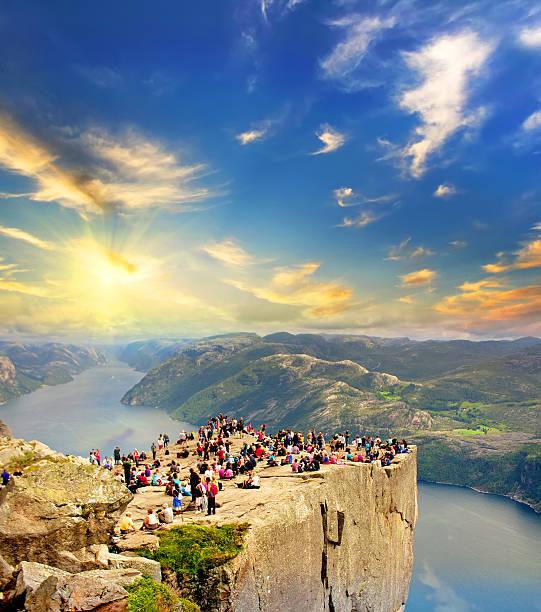 people on the Preikestolen,Pulpit Rock, Norway stock photo