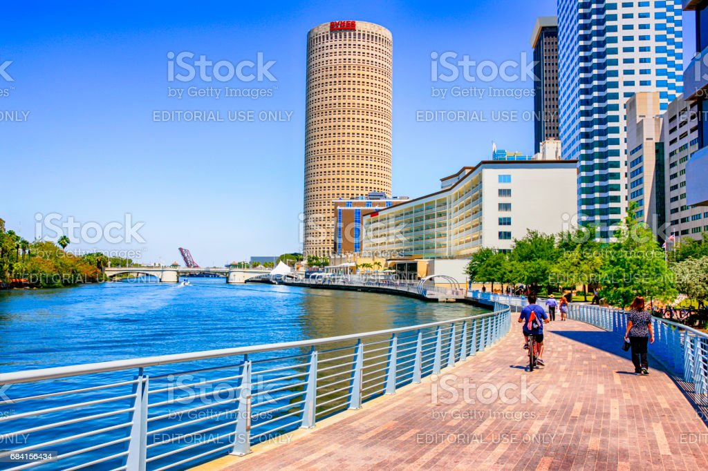 People on the Riverwalk in downtown Tampa FL stock photo
