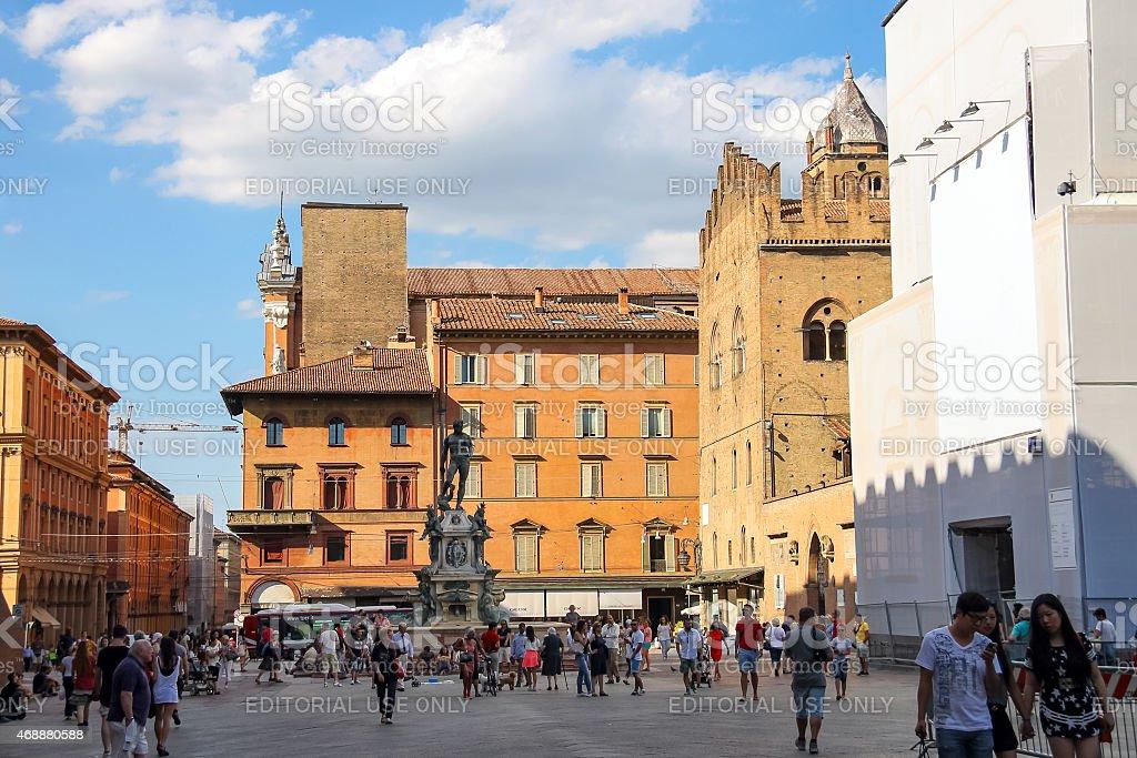 People on the Square Neptune (Piazza del Nettuno) in Bologna stock photo