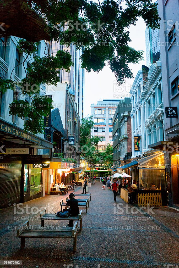 People on the streets of downtown Auckland, New Zealand stock photo