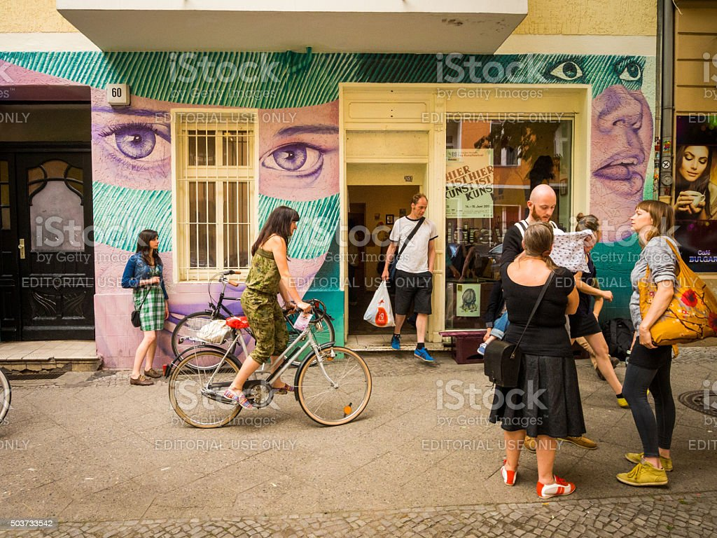 People on the streets of Neukoelln in Berlin, Germany stock photo