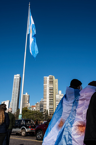 People on the streets of Rosario city, Argentina, celebrating the Argentine National Flag day