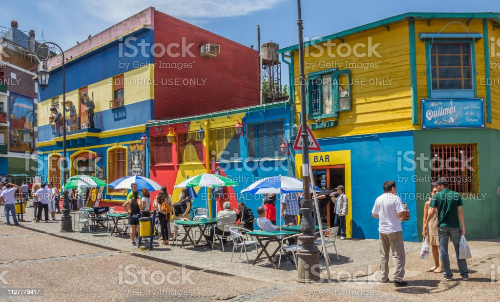 People on the the streets of La Boca in Buenos Aires stock photo