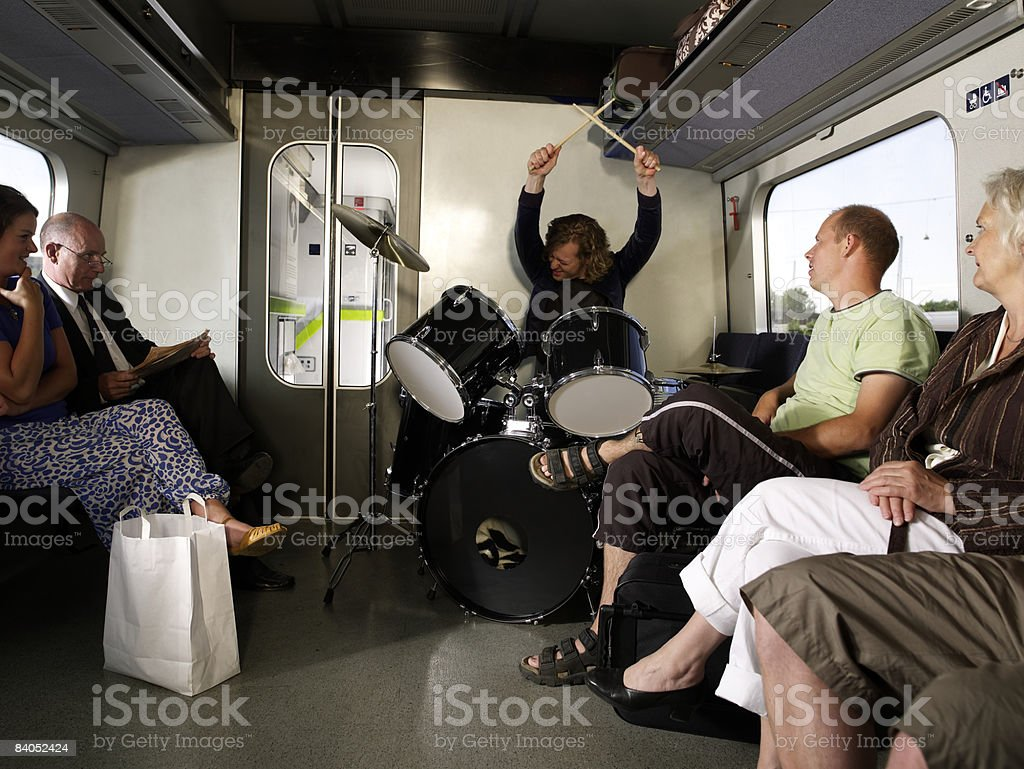 People on train royalty-free stock photo