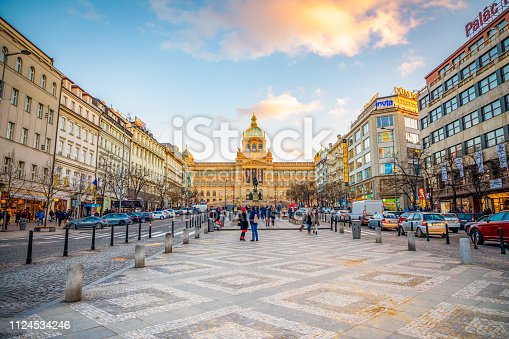 Prague, Czech Republic - January 12, 2019: People on Wenceslas Square at sunset lights in Prague in Czech Republic.