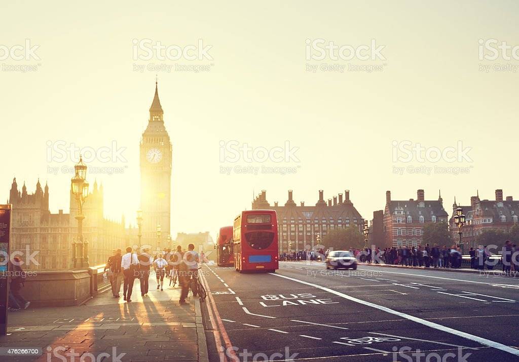 people on Westminster Bridge at sunset, London, UK stock photo