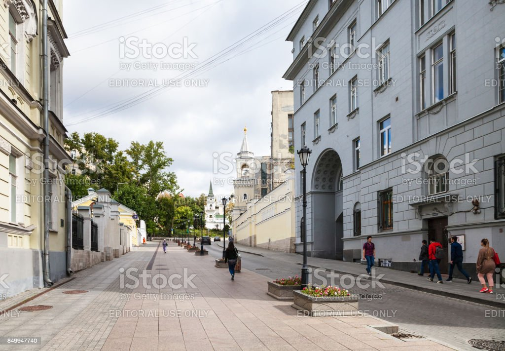 people on Zabelina Street in Moscow city stock photo