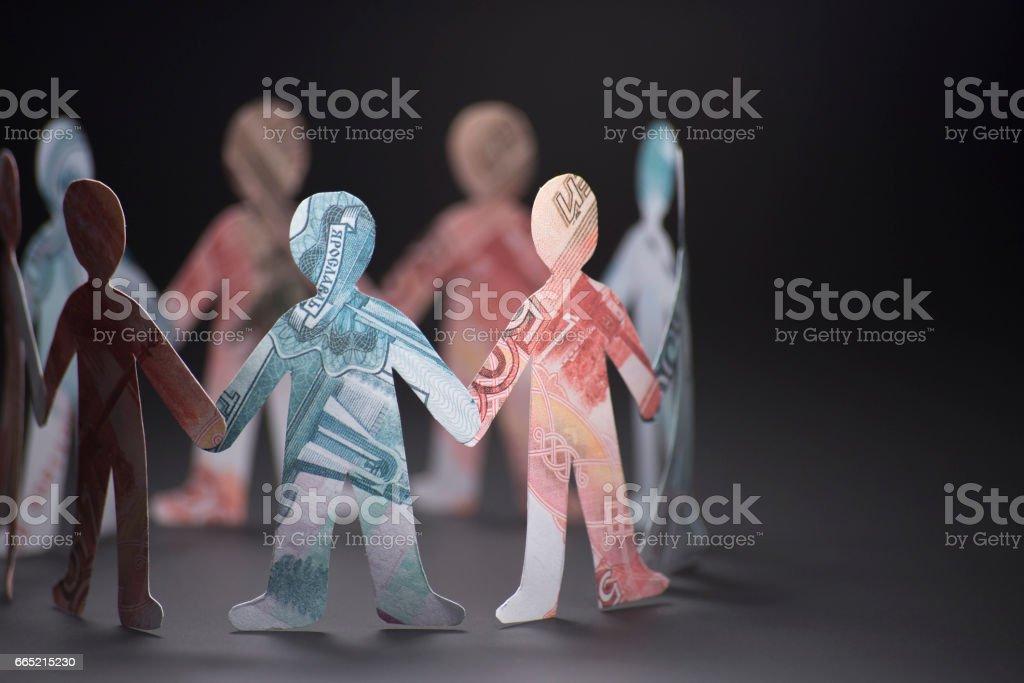la gente de origami billetes - foto de stock