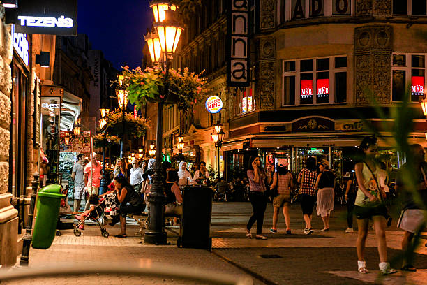 people out on street at night in budapest, hungary - eastern european culture stock photos and pictures