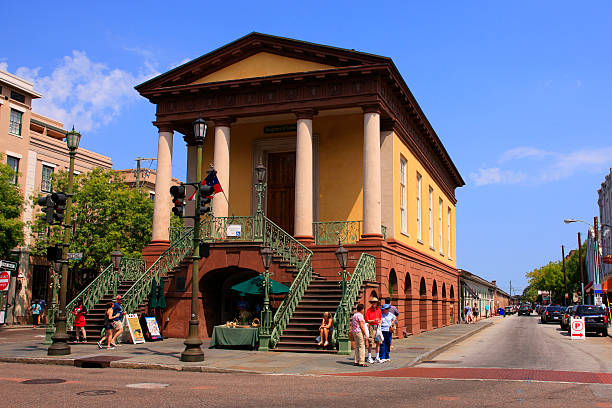 People outside the Confederate Museum building in Charleston, SC stock photo