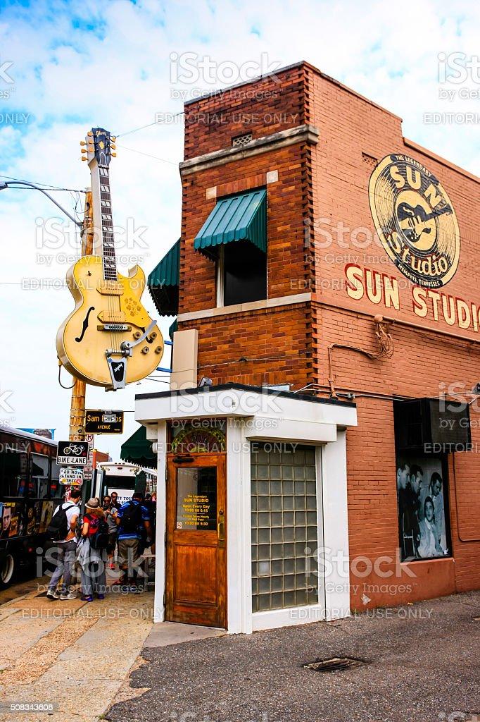People outside the Sun Studio building in Memphis TN stock photo