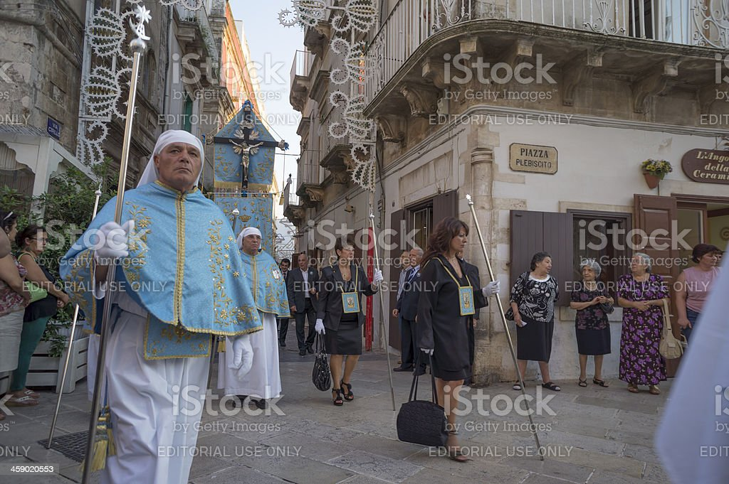 "People parading at ""Our Lady of Assumption"" procession royalty-free stock photo"