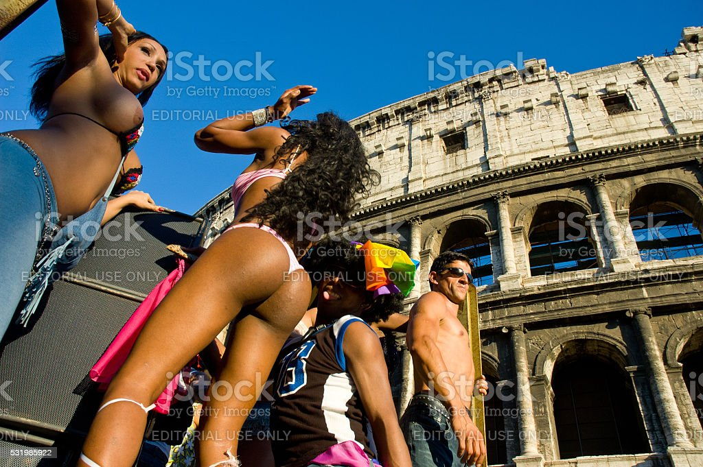 People partecipating at 2005 Rome gay pride stock photo