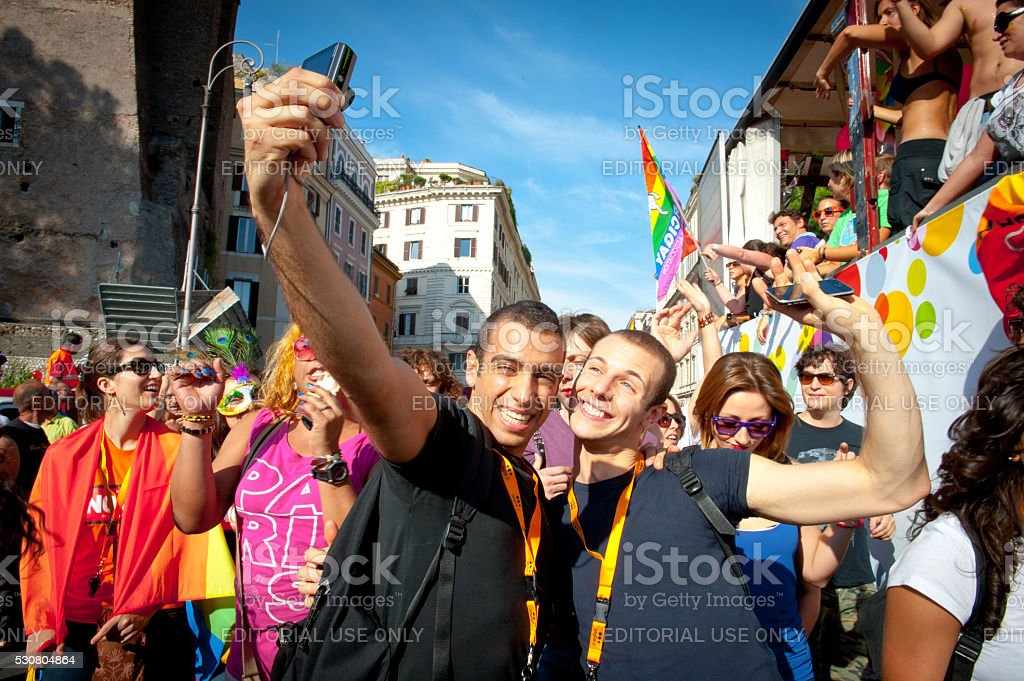 People partecipating at 2011 euro Rome gay pride stock photo