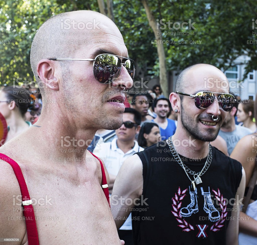 People participating at the Gay Pride parade in Madrid royalty-free stock photo