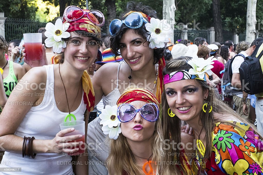 People participating at the Gay Pride parade in Madrid stock photo