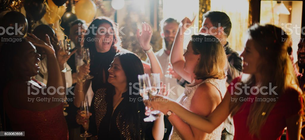 People Party Celebration Drinks Cheers Happiness Concept stock photo
