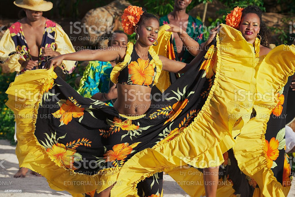People perform traditional Sega dance in Ville Valio, Mauritius. stock photo