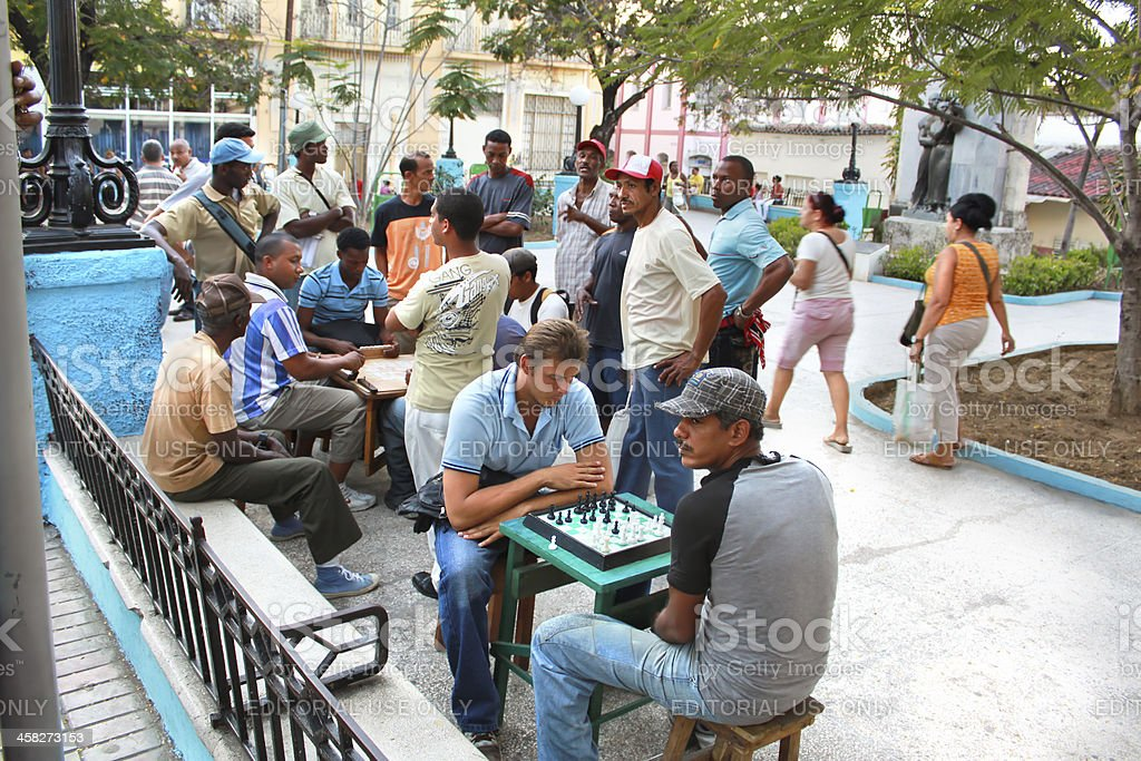People play the chess on central square in Santiago,Cuba royalty-free stock photo