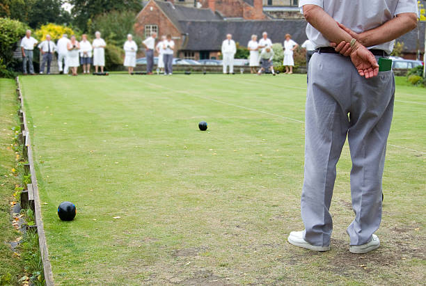 People playing Flat Lawn Bowls stock photo