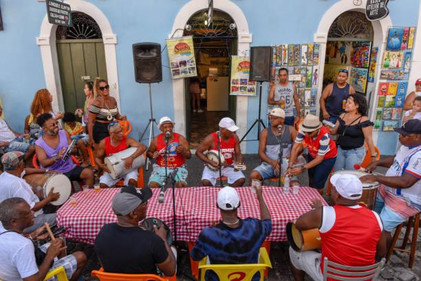 People playing samba at Salvador Bahia on Brazil stock photo