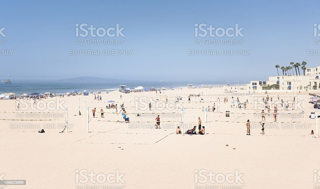 people playing volleyball on Huntington Beach - California royalty-free stock photo