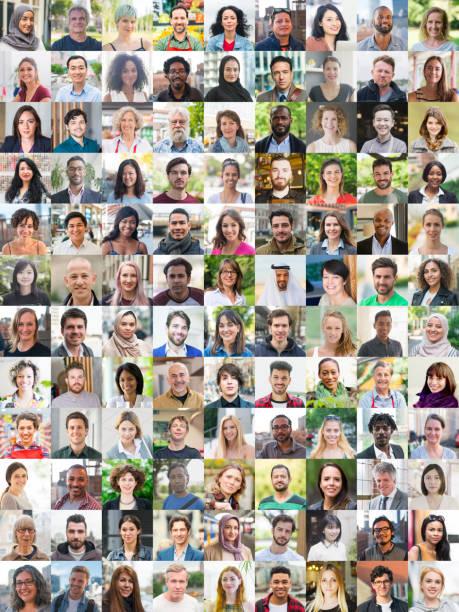 menschen porträtisieren vielfalt - große personengruppe stock-fotos und bilder