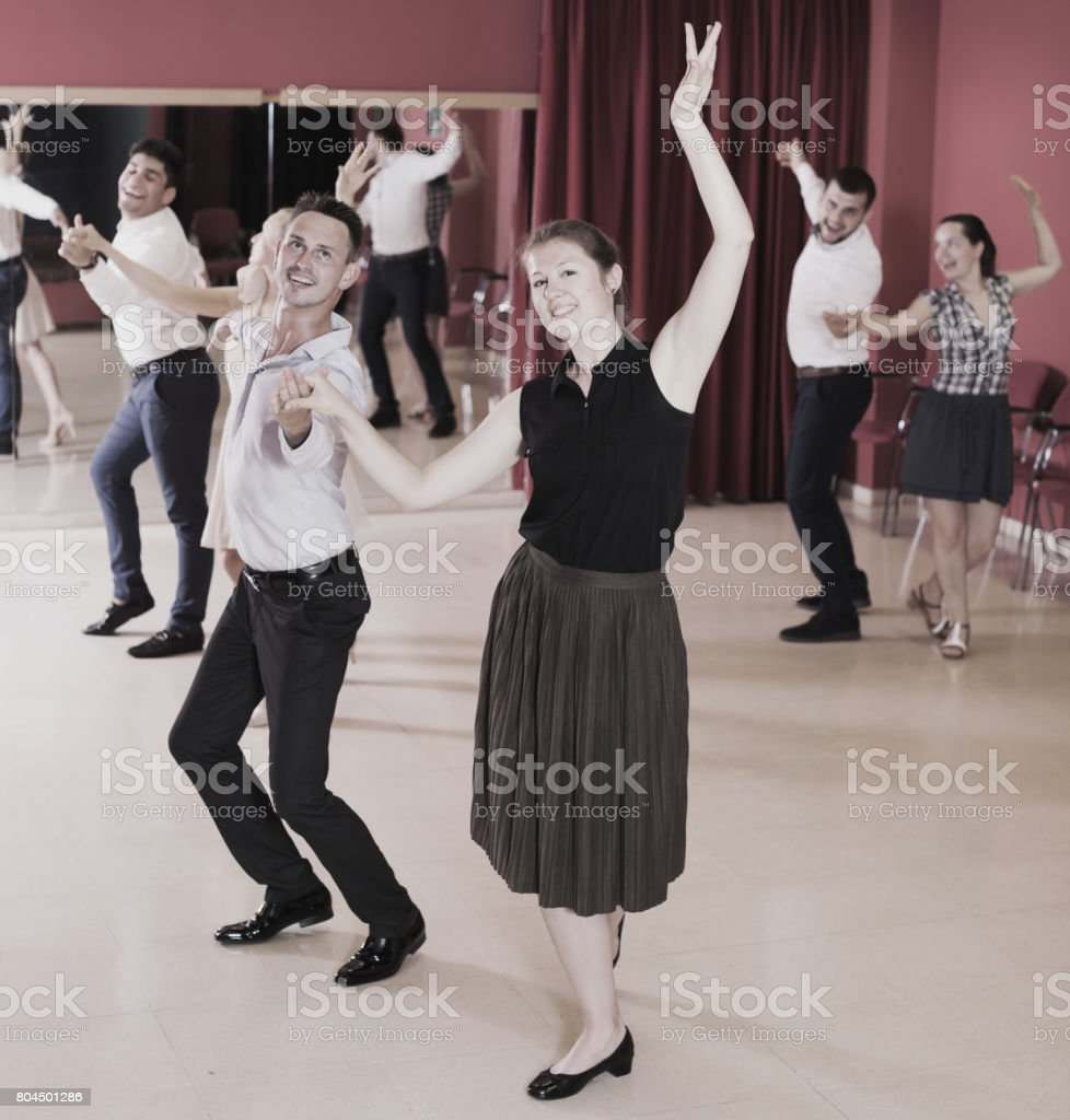 People practicing passionate samba stock photo