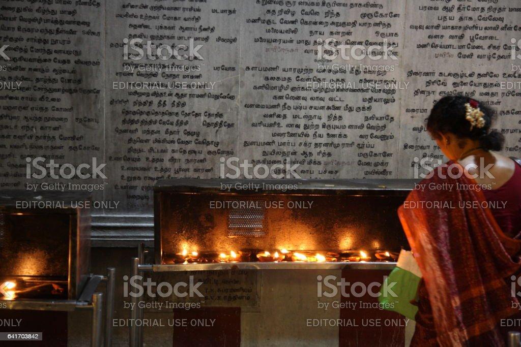 People praying at Kapaleeswarar Temple in Chennai, India stock photo